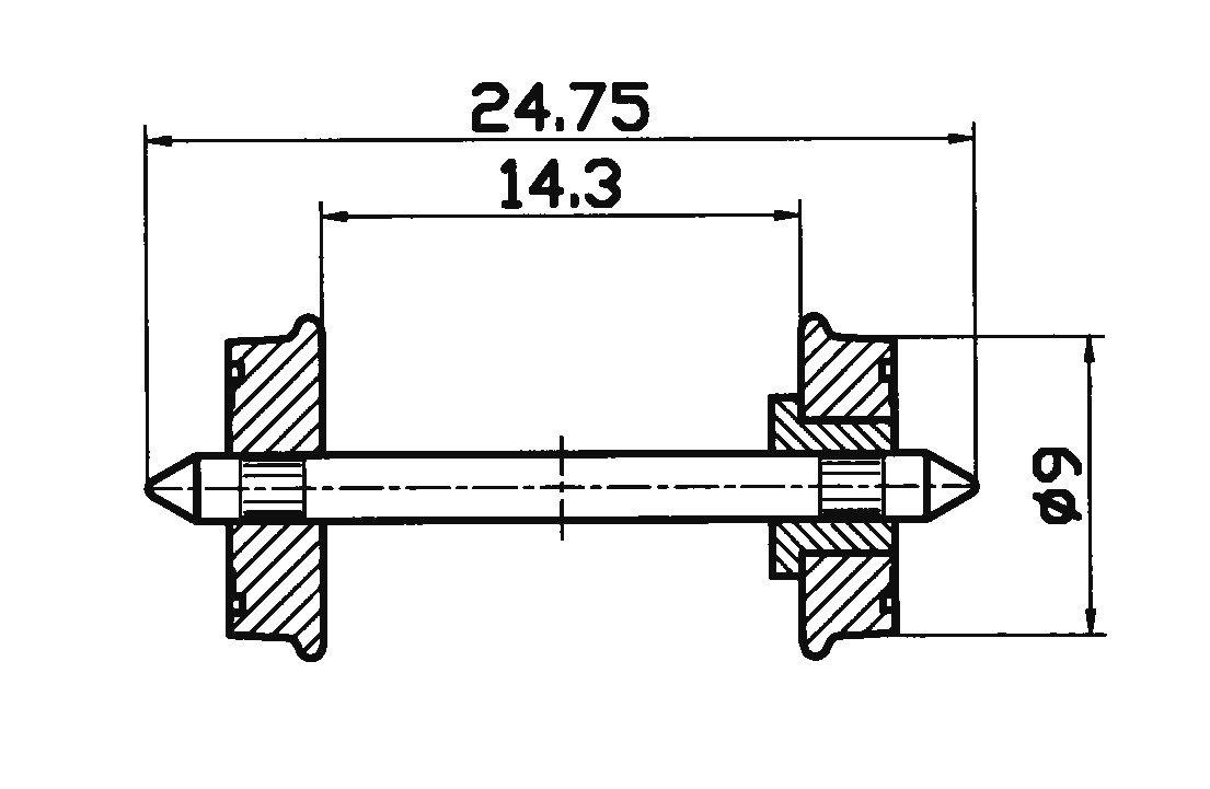 Roco 40266 2x RP-25-Radsatz DC in H0 Ersatzteil Fabrikneu