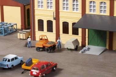 Auhagen 41641 Dumper mit Kompressoranhänger in H0 Bausatz