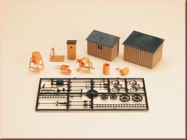 Auhagen 42571 1x Toilettenhäuschen, 2x Schuppen, Werkzeug in H0/TT NEUWARE