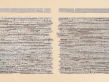 Auhagen 42649 2x Steinmauern mit Abschlusssteinen in H0/TT Bausatz