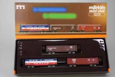 Märklin 8205 Miniclub Güterwagenset USA unbespielt in Originalverpackung