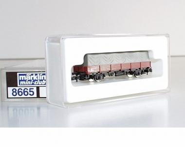 Märklin 8665 Miniclub Niederbordwagen mit Plane in Originalverpackung