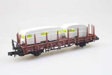Arnold 4472 Rungenwagen mit Ladung 2x wohnwagen der DB unbespielt in OVP