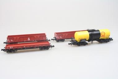Fleischmann 4x schöne Güterwagen 8281 8282 8481 Sammlung Güterwagen in N in OVP