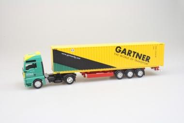 Herpa MAN TGA Gigaspace 45ft HighCube Container Auflieger Gartner KG 1:87 OVP