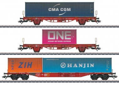 Märklin 47580 Container-Tragwagen-Set Lgs 580 der DB MHI 3-teilig H0 Fabrikneu