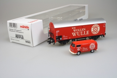 """Märklin 94503 Kühlwagen + VW Transporter T2 2Wir wollen Wulle"""" in H0 Fabrikneu"""