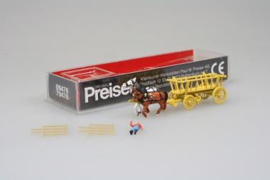 Preiser 79476 Leiterwagen mit Pferde in N N unbespielt