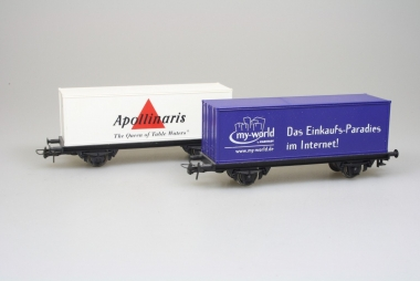 Roco 2x sehr schöne Güterwagen mit Container Apollinaris und My World in H0