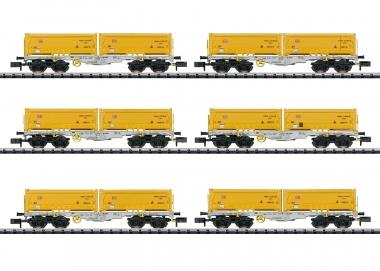 Trix Minitrix 15075 Containertragwagen-Set 6-teilig der DB in N Fabrikneu