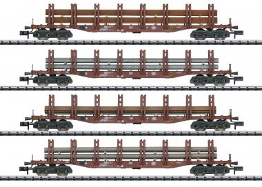 Trix Minitrix 15484 Güterwagen-Set Stahltransport 4-teilig der DB in N Fabrikneu
