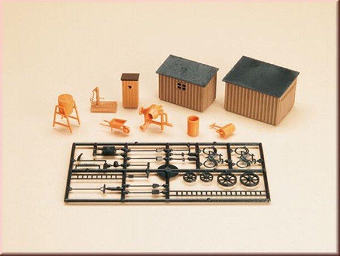 Auhagen 42571 1x Toilettenhäuschen, 2x Schuppen, Werkzeug in H0/TT Bausatz