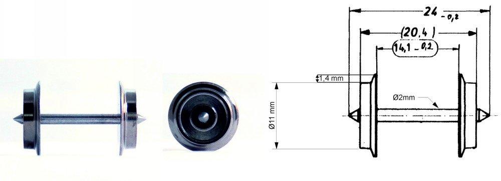 Fleischmann 6560 Radsatz Wechselstrom-Tauschradsatz, Achslänge 24 mm Neuware